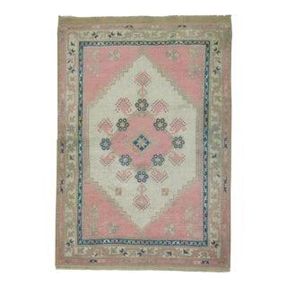 Vintage Turkish Oushak Pink Rug - 3'3'' x 4'5''