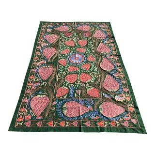 "Handmade Suzani Strawberry Design Crochet Embroidered Wall Hanging / Bedspread - 7'1"" x 3'7"""