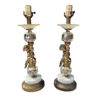 Vintage Brass & Crystal Cherub Lamps - A Pair