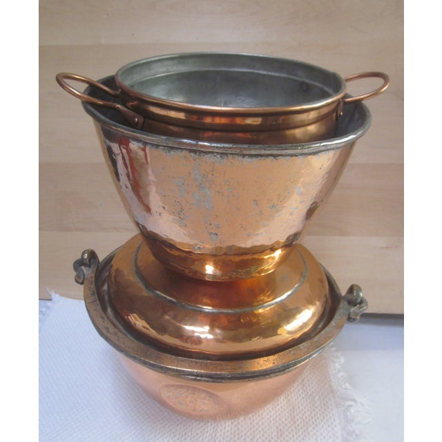 Copper Pot Set Hammered Copper & Brass Pots & Pans - Set of 4 - Image 2 of 10