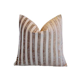 Custom Tailored French Velvet Striped Feather/Down Pillow