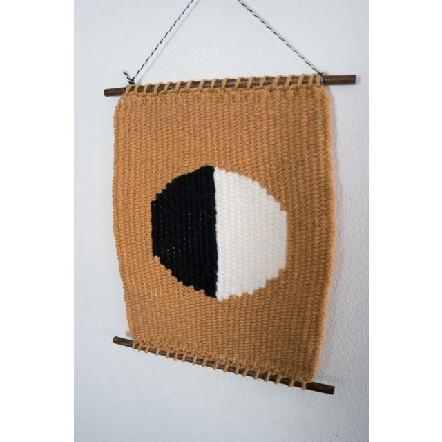 Mustard, Black, & White Woven Wall Hanging - Image 3 of 4