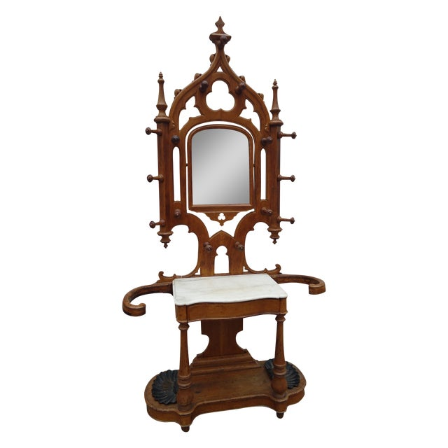 Tall Gothic Style Marble & Wood Coat Hanger Stand - Image 1 of 8