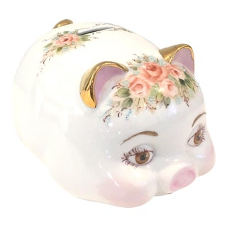 Hand Painted Floral Ceramic Piggy Bank