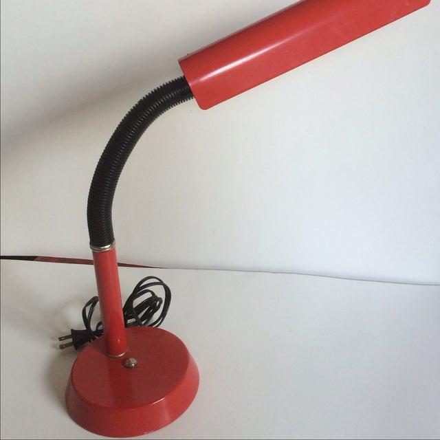 Vintage 1970s Red Gooseneck Desk Lamp - Image 5 of 7