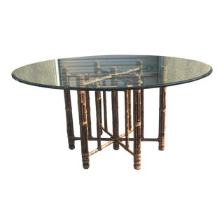 McGuire Reeded Bamboo Hexagonal Dining Table