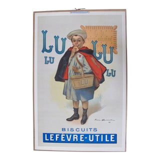 Vintage French Advertising Carton Biscuits LU 1905 Large