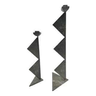1960s Brutalist Welded Metal Geometric Staggered Candle Holders Signed - a Pair