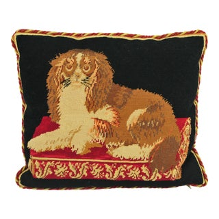 Cavalier King Charles Dog Needlepoint Throw Pillow