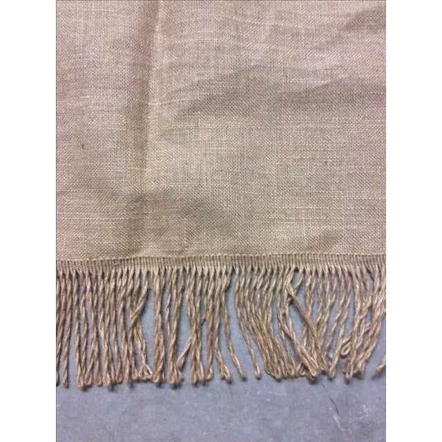 Ballard Lined Burlap Fringed Drapes- A Pair - Image 5 of 6