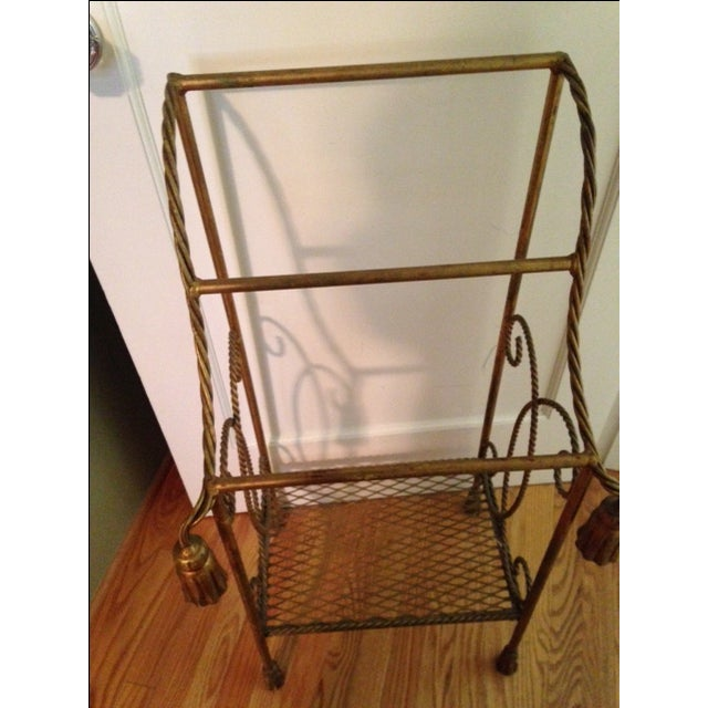 Vintage Italian Gold Leaf Towel Stand - Image 3 of 4