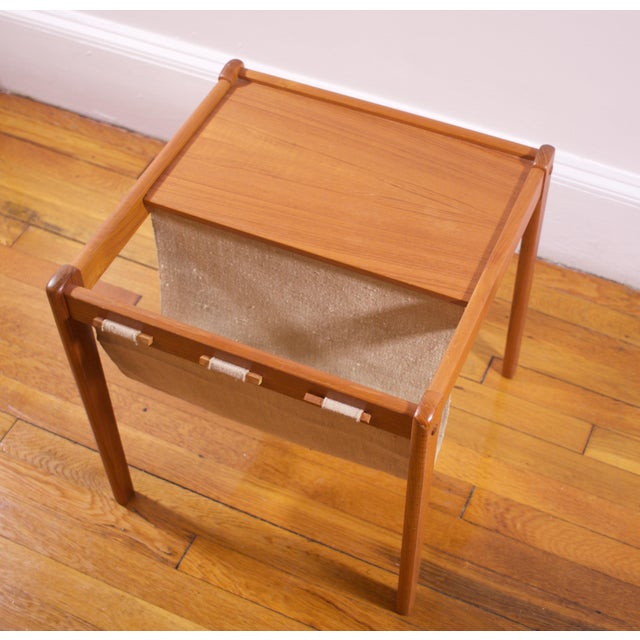Image of Furbo Danish Teak Side Table With Magazine Holder