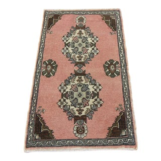 1'9 X 3' Mid-20th C. Vintage Antique Tribal Oushak Hand Knotted Turkish Rug