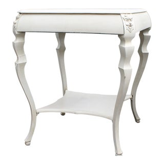 Ivory Painted Lion Head Side Table
