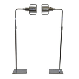 Koch & Lowy Chrome Floor Lamps C.1970 - A Pair