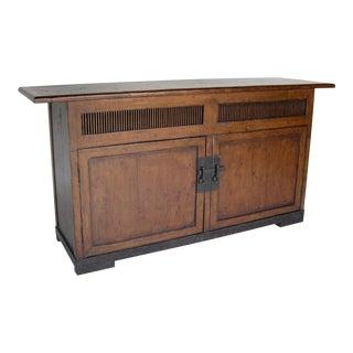Custom Walnut Wood Media Console on Iron Base