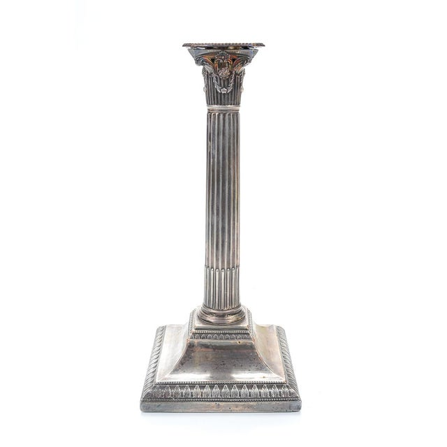 Image of 19th Century Silver Column Candleholders - A Pair