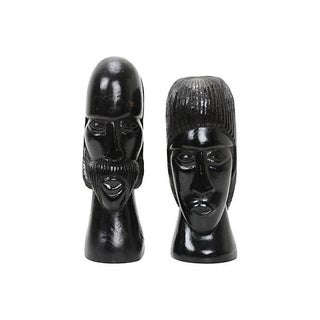 Jamaican Couple Modern Wood Sculptures
