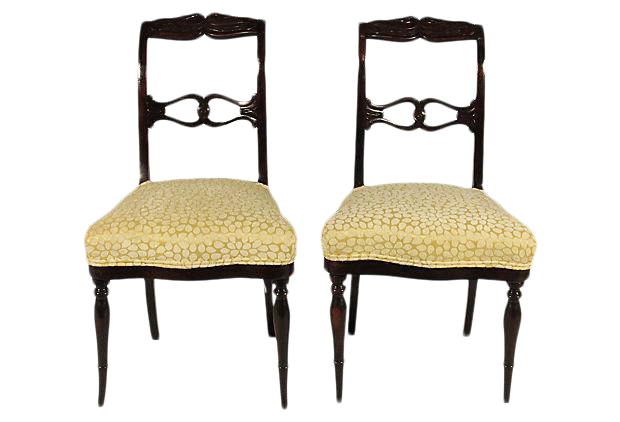 19th C. Antique Swedish Side Chairs   A Pair