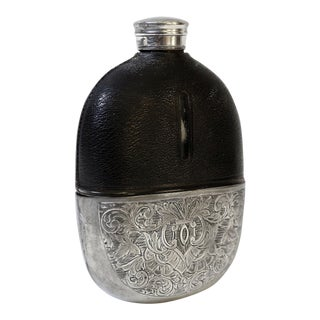 English Silver & Leather Liquor Hip Flask