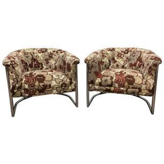 Cantilever Tubular Barrel Chairs - A Pair
