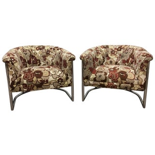 Cantilever Tubular Barrel Chairs - A Pair