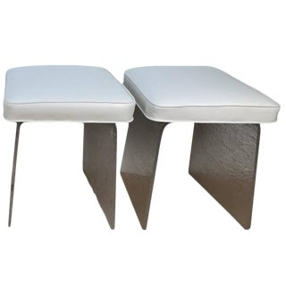 White Leather Lucite Benches Stools - A Pair