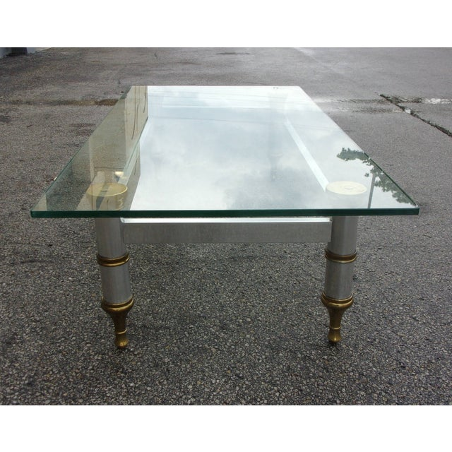 Mid-Century Aluminum & Brass Coffee Table - Image 8 of 11