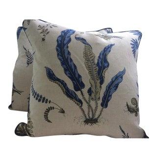 Gp & J Baker Pillows in Denim Blue & Khaki Linen Fern Pattern - a Pair