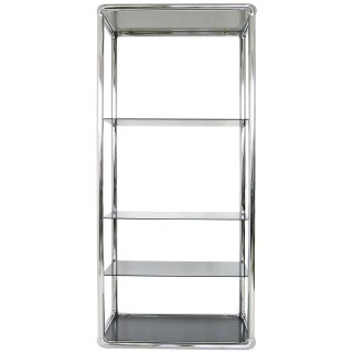 Chrome And Smoked Glass Etagere