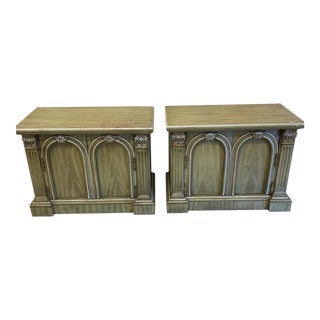 Neoclassical Rustic Olive Nightstands - A Pair