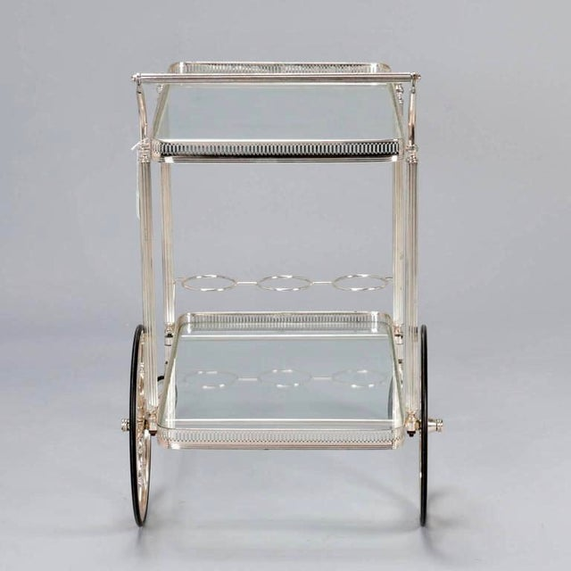 Mid-Century Nickel Plated Bar Cart or Drink Trolley - Image 5 of 8