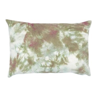 "Marbled Green Burgundy Hand Dyed Shibori Boho Pillow Cover - 14"" x 20"""