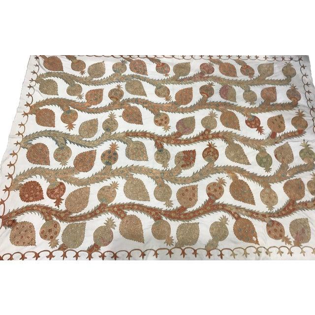 Silk Suzani Pastel Bedspread - Image 2 of 4