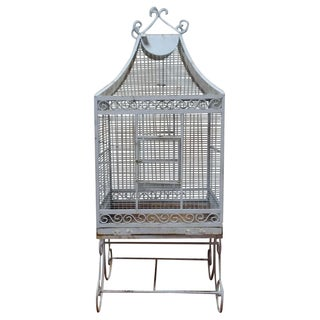 Antique White Iron Birdcage