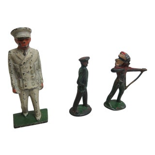 Vintage Lead Toy Lot Military Indian Figure Antique Toys - Set of 3