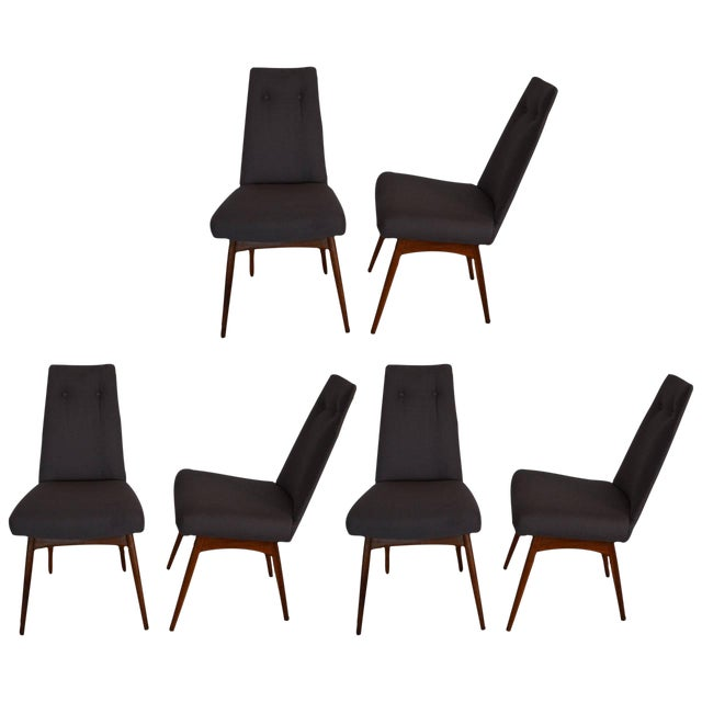 Mid Century Modern Adrian Pearsall Set of Six Dining Chairs in Gray Linen - Image 1 of 7