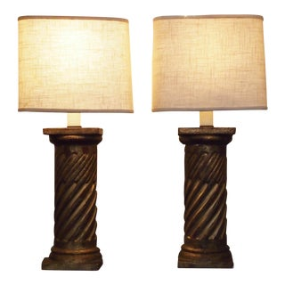 Pair of Polychrome Columns as Lamps