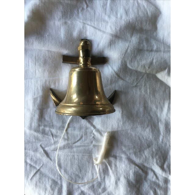 Vintage Brass Nautical Bell on an Anchor With String - Image 2 of 6