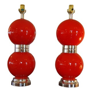 Retro Lamps in Red - A Pair