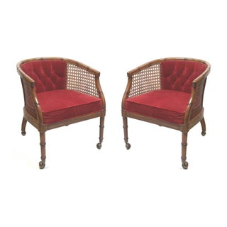 Faux Bamboo & Cane Armchairs - A Pair