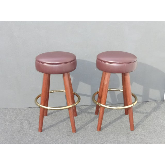 Mid-Century Modern Brown Vinyl Bar Stools - A Pair - Image 4 of 11