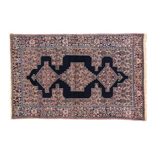 Antique Persian Navy Blue & Pink Senneh Rug- 4′4″ × 6′9″