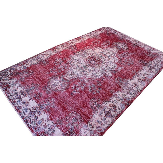 "Distressed Turkish Rug Decorative Rug, 6'1"" X 9'8"" - Image 7 of 8"