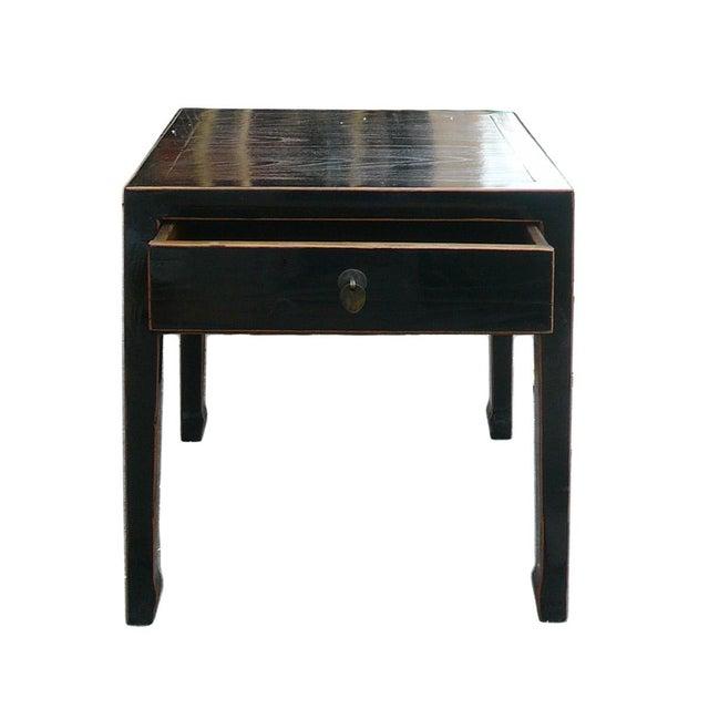 Square Black Single Drawer Side Table - Image 5 of 6