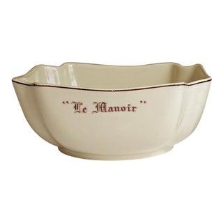 "Vintage French ""Le Manoir"" Porcelain Serving Bowl"