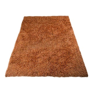 Vintage Christine Manges Orange Shag Rug- 8′ × 10′
