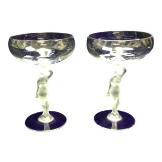 French Bayel Bacchante Nude Champagne Stems - Pair
