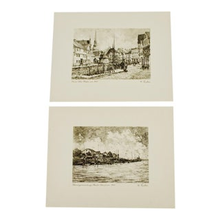 W. Fischer German Village Scene Prints - A Pair