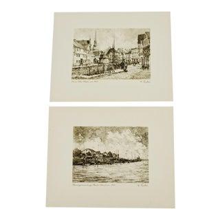W. Fischer German Village Scene Prints - A Pair